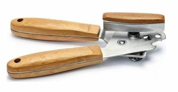 manual can opener stainless steel with bamboo