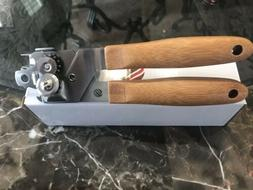 Manual Can Opener Stainless Steel with Bamboo Comfortable Gr